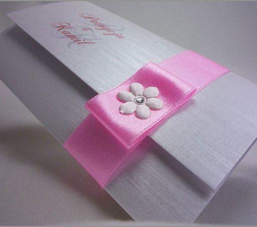 Zaproszenia na ślub z różową wstążką Bella Flower