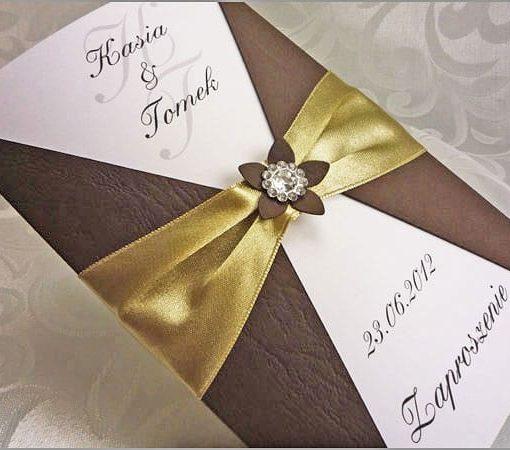 Brązowe zaproszenia ślubne
