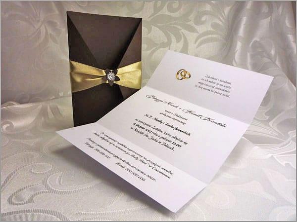 Eleganckie zaproszenia ślubne brązowe