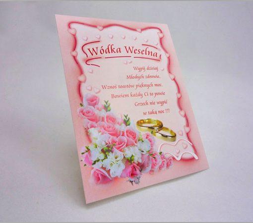 Etykiety na wódkę weselną z obrączkami i wierszykiem