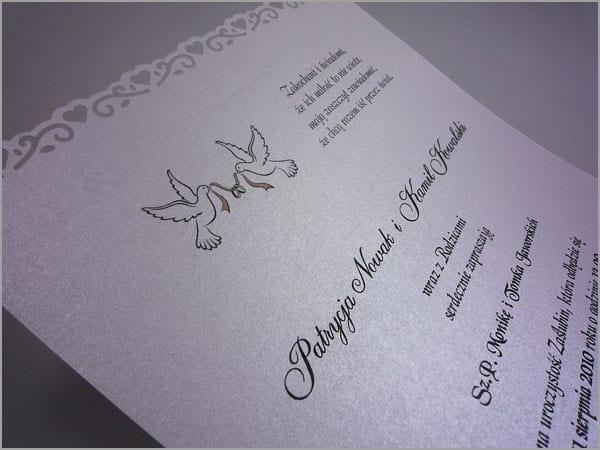 Zaproszenia ślubne z gołębiami