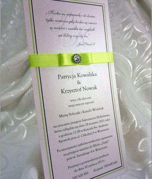 Zaproszenia na ślub z seledynową wstążeczką
