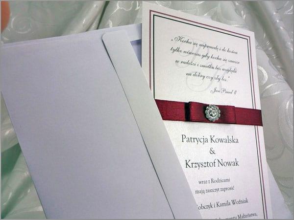 Zaproszenia ślubne z kopertą