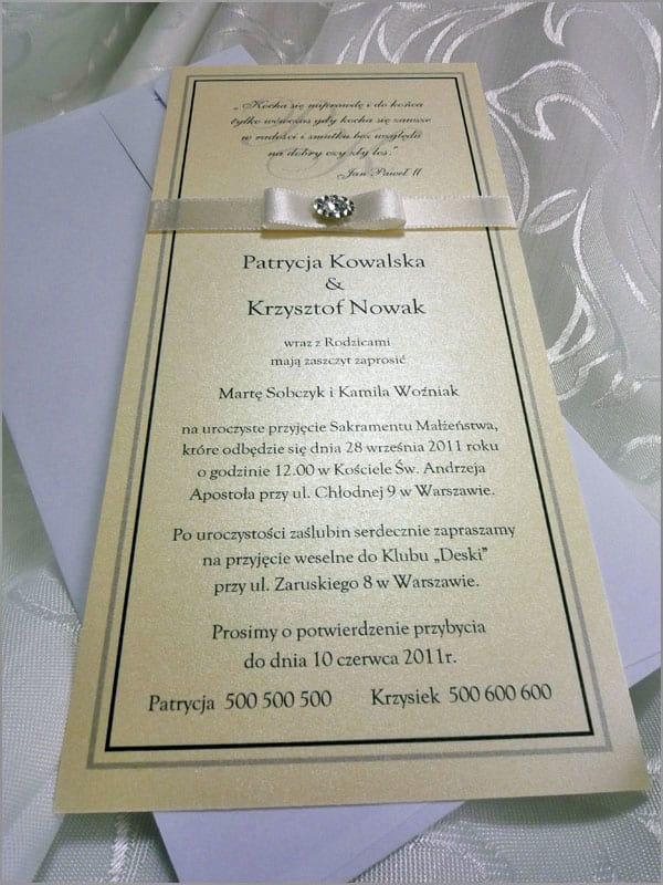 Zaproszenia ślubne z kremowego papieru