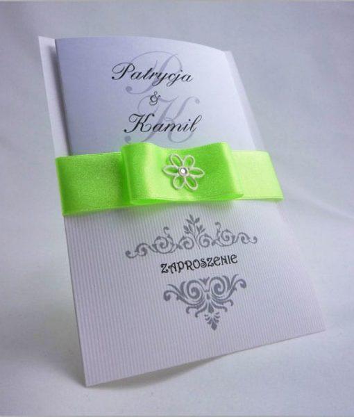Zaproszenia weselne z seledynową taśmą