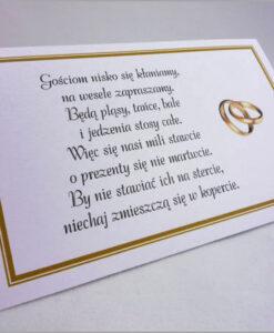 Bileciki z wierszykami do zaproszeń ślubnych
