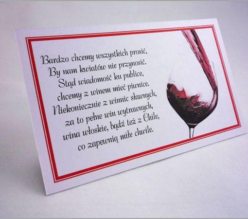 Karteczki bileciki do zaproszeń ślubnych z wierszykiem o winie