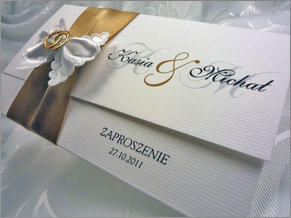 Zaproszenia na ślub z kokardą