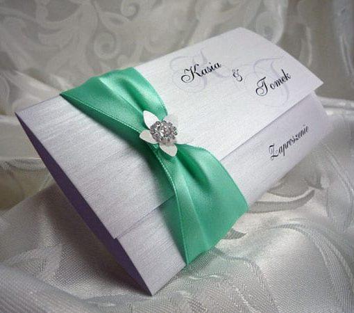 Miętowe zaproszenia ślubne