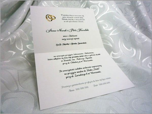 Wnętrze zaproszenia ślubnego