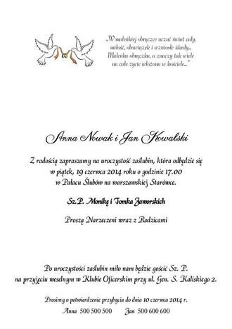 Teksty na zaproszenia ślubne nr 3