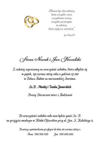 Przykład tekstu do zaproszeń ślubnych nr 3