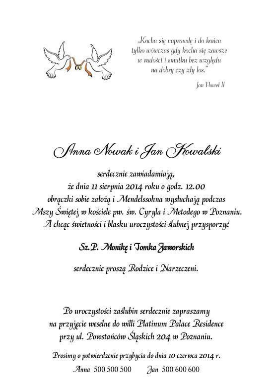 Teksty Do Zaproszeń ślubnych Teksty Na Zaproszenia Parka
