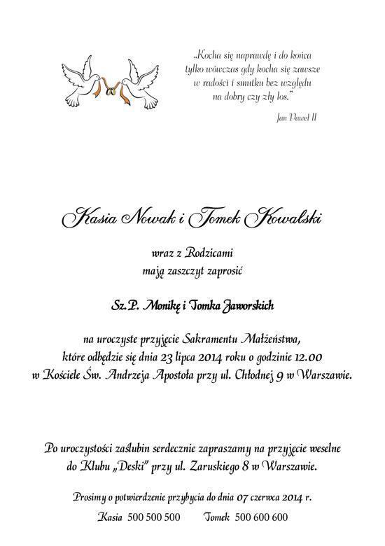 Najlepsze Teksty Zaproszeń ślubnych Parka