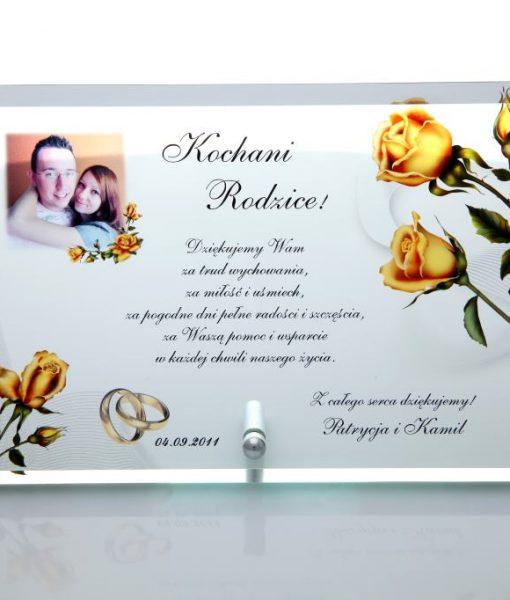 Szklane podziękowania dla rodziców z różami