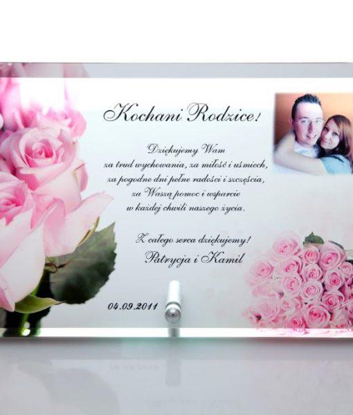Podziękowania dla rodziców ze szkła z różami