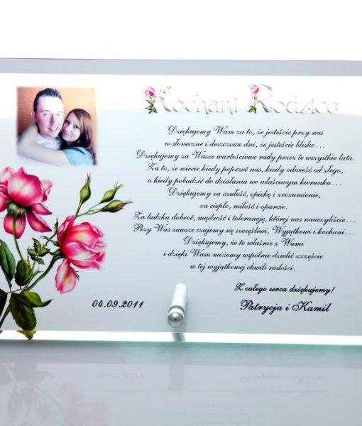 Szklane podziękowania na wesele – róże