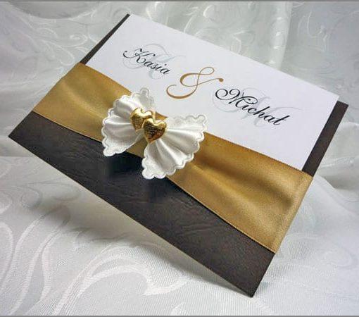 Bardzoe eleganckie zaproszenia ślubne w brązie
