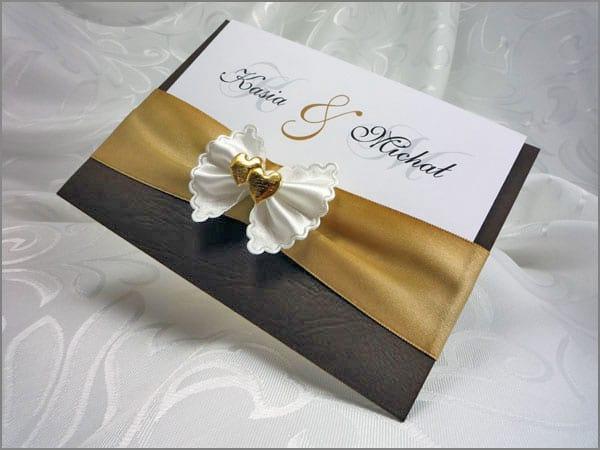 Bardzo eleganckie zaproszenia ślubne w brązie