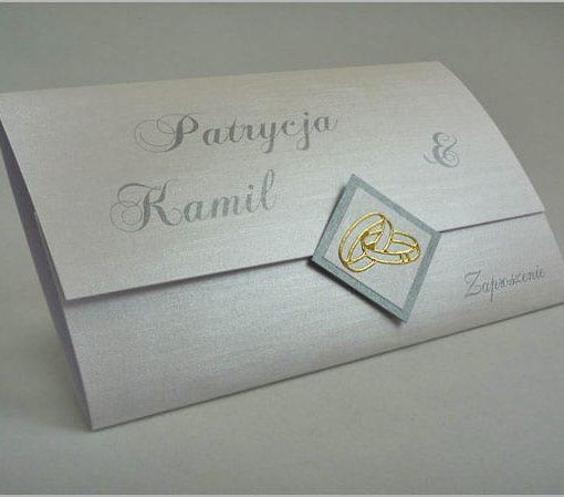 Zaproszenia na ślub z obrączkami srebrne