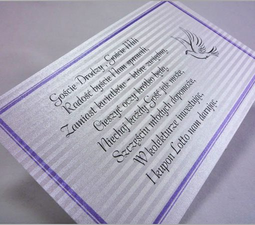 Wkładki do zaproszeń z wierszykiem lotto
