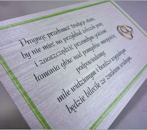 Wkładki do zaproszeń ślubnych z wierszykiem o pieniądzach