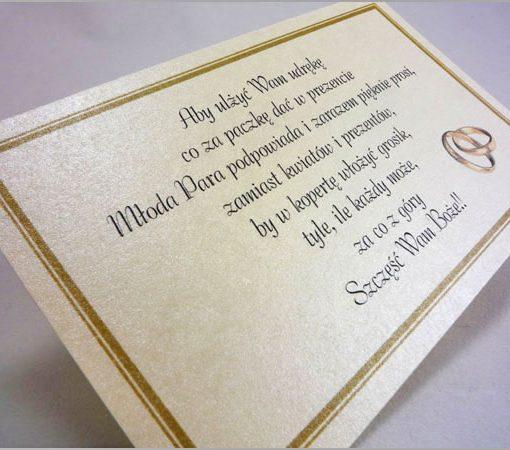 Wkładki do zaproszeń z ozdobnego kremowego papieru