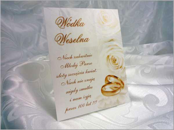 Eleganckie naklejki na wódkę weselną