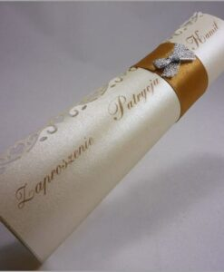 Złote zaproszenia ślubne rulon
