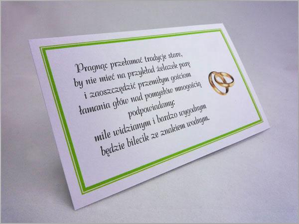 Karteczki bileciki z wierszykiem lotto zamiast kwiatów