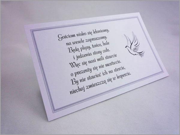 karteczki z wierszykami o pieniądzach zamiast prezentów