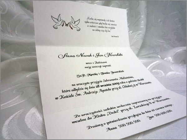Zaproszenia ślubne wnętrze