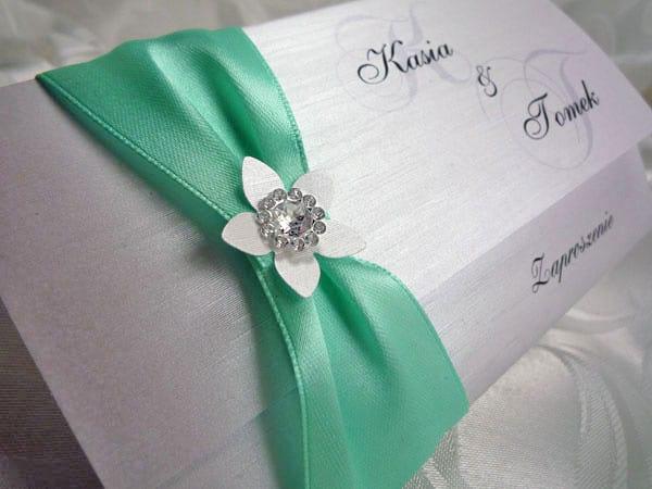 Tanie zaproszenia ślubne kolor miętowy