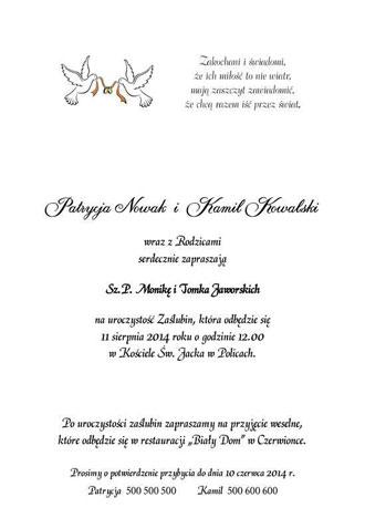 Tekst zaproszenia ślubnego nr 1