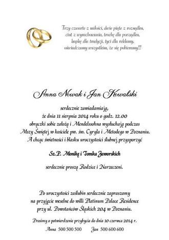 Tekst do zaproszeń ślubnych nr 4 zdjęcie nr 3