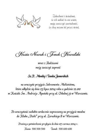 Przykłady tekstów do zaproszeń