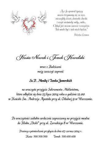 Zdjęcie nr 3 tekst na zaproszenia ślubne nr 5
