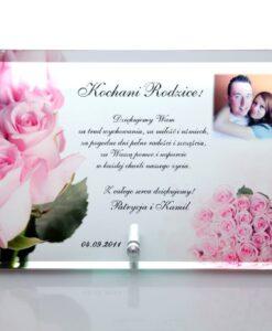 Podziękowania dla rodziców ze szkła róże