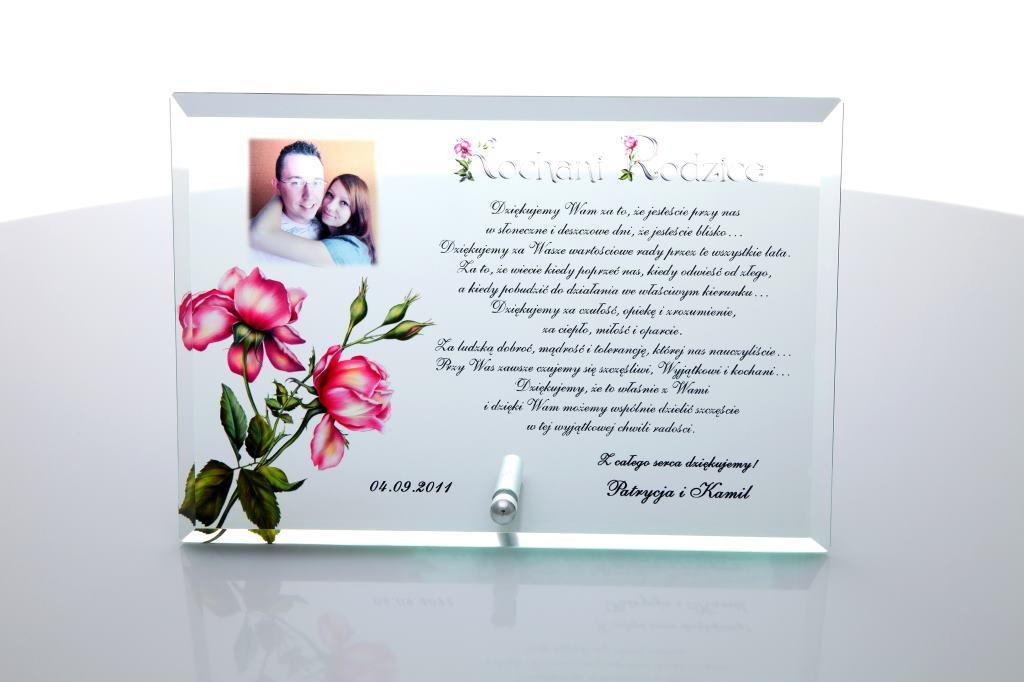 Szklane podziękowania na wesele z różami