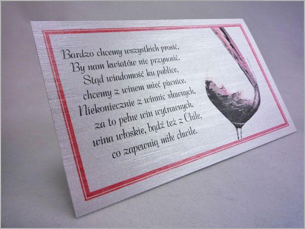 Wkładki do zaproszeń ślubnych z wierszykiem o winie